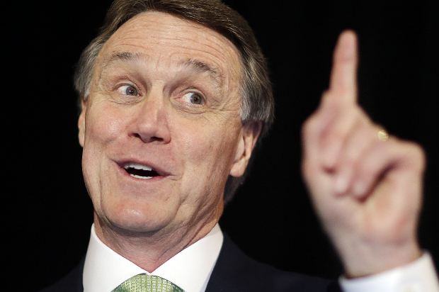 Georgia Republican Senate candidate, David Perdue speaks to supporters at a primary election night party, Tuesday, May 20, 2014, in Atlanta. (AP Photo/David Goldman)